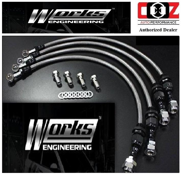 WORKS ENGINEERING STEEL BRAKE HOSE KIT SUBARU IMPREZA WRX STI GDB