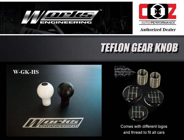 Works Engineering Teflon Gear Knob W-GK-HS / HKS Design (White)