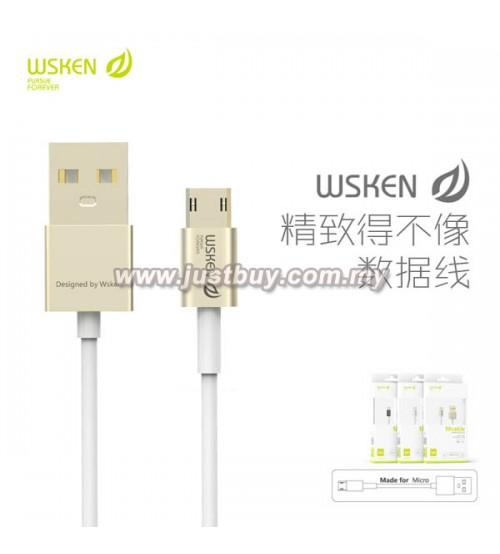 WSKEN Double Side Reverse Plug Fast Charging Micro USB Cable - Gold