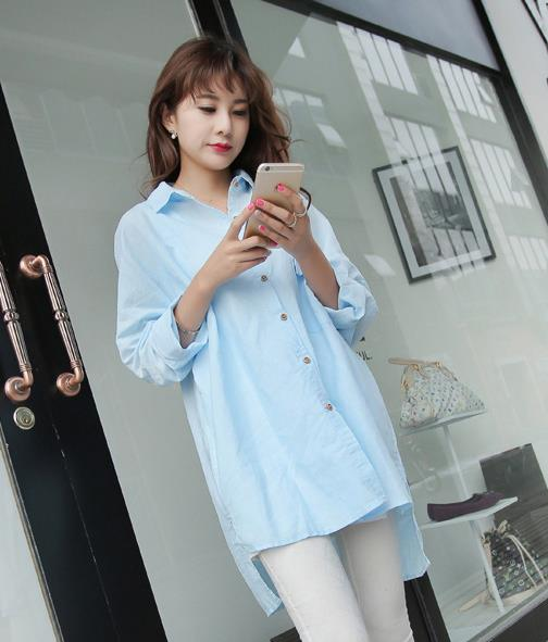 WT6567 Fashion Long Top Blue
