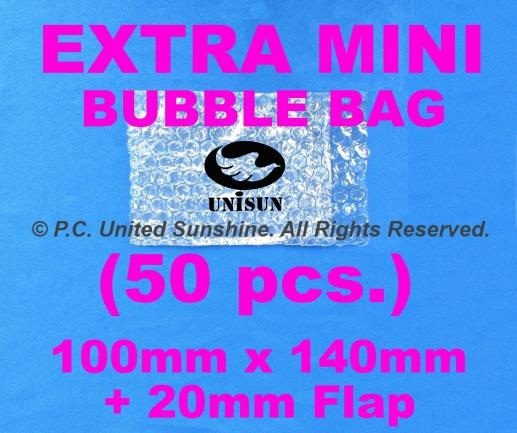 x 50 pcs. EXTRA MINI BUBBLE WRAP BAG 160mm (140mm+20mm FLAP) x 100mm