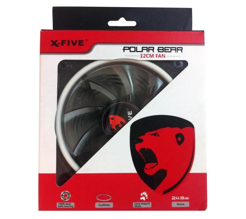 X-FIVE POLAR BEAR 12CM CASING FAN 1600RPM BLACK W/ RED LED (CFX6607)
