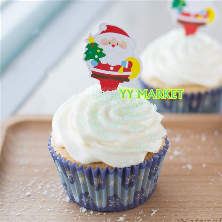 X'mas Theme Dessert Decoration Card - Christmas Tree & Santa