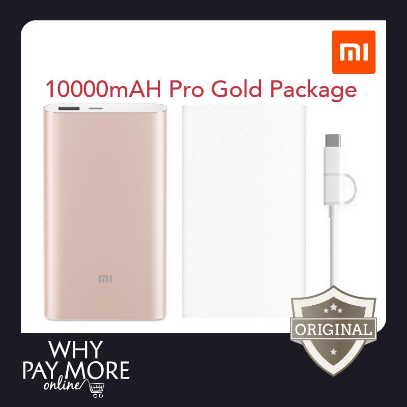 Xiaomi 10000mAH Pro Gold Power Bank Mi Fast Powerbank Portable Charger