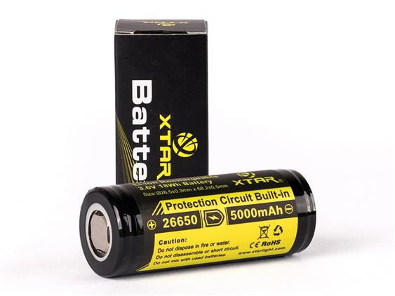 Xtar 26650 5000mAh 3.6v Rechargeable Li-ion Protected Battery