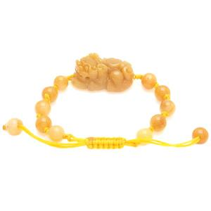 Yellow Jasper Pi Yao Bracelet Carving For Protection and Good Fortune