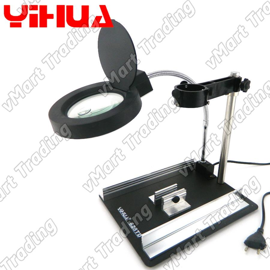 YIHUA 628TD Hot Air Gun Vertical Stand with Magnifying Glass and LED