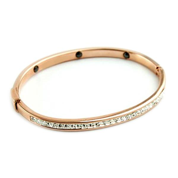 YOUNIQ Eternal 14K Rosegold Titanium Bangle with Cubic Zirconia
