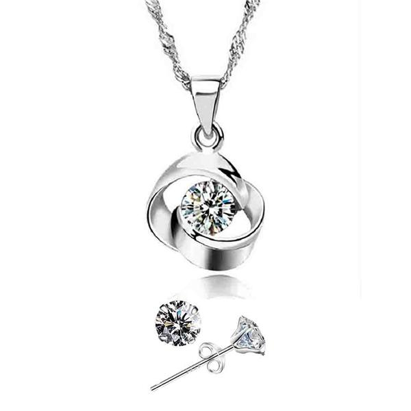 YOUNIQ Hana 925S Silver Necklace Pendant with CZ Earring Set