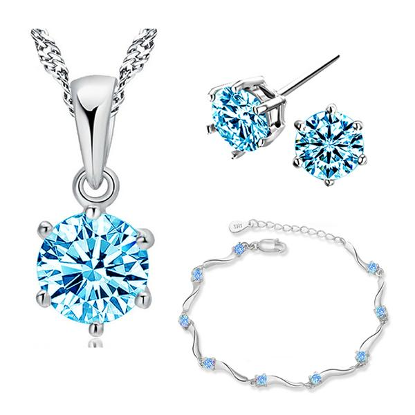 YOUNIQ Hexa 925 Sterling Silver Necklace Set W/Blue Cubic Zirconia
