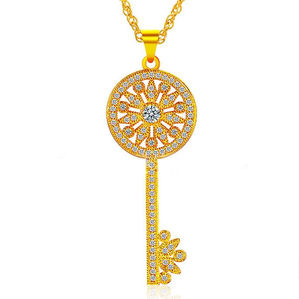YOUNIQ Premium Key 24K Gold Plated Pendant Necklace W/Cubic Zirconia