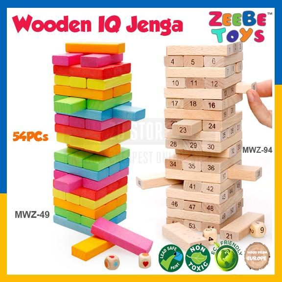 ZEEBE TOYS Wooden Jenga IQ 54 Pcs Rainbow Color Kid Educational Baby
