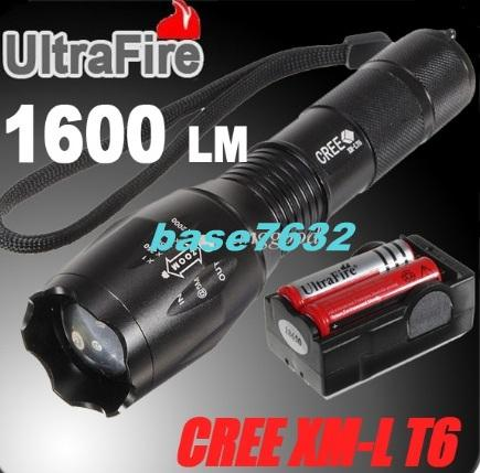 Zoom/Zoomable Ultrafire T6 Led Flashlight Torchlight 7-Mode Torch