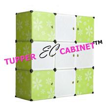 9Cubes Mixed Whte Stripes Doors Green Flower Cabinet