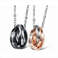 Couple Lovers Necklace Tricycle Ring Pendant One Pair
