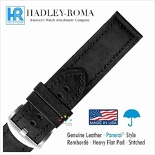HADLEY ROMA Panerai Style Leather Water Resistant Watch Strap BK 20-26