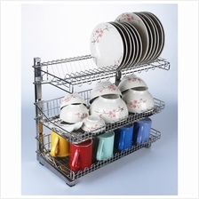 Dish Rack 3 Tiers with Double Trays Stainless Steel