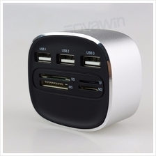 7 in 1 High Speed Card Reader SD/TF/MS/M2 3 USB 2.0 Ports