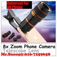 8X Times Zoom Phone Camera Telescope Lens With Clip, Universal To All