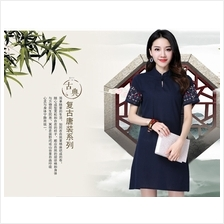 9129 Modern Designer Short Sleeve A line Cheongsam dress (2 COLORS AVAILABLE)