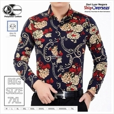 Men Fashion Button up Floral Printed Casual Long sleeved Shirt
