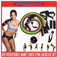 11PCS Yoga Resistance Bands Tubes GYM Exercise Workout Fitness TRX ABS