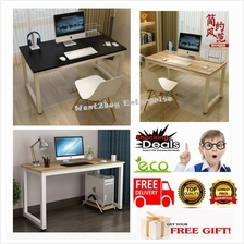 1.6cm Thick Wooden Top Writing Study Office Table With White Steel Leg