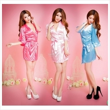 Ice Silk Robe Sexy Pyjamas Sleepwear Sexy Clubbing Costume  + G String