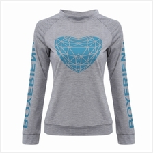 WOMEN'S CASUAL LONG SLEEVE LETTER PRINT T-SHIRT (LIGHT GRAY, SIZE M/L/XL)