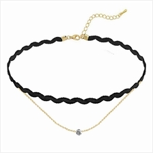 YOUNIQ-Basic Korean Wave & CZ Black Choker