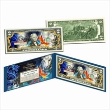 ANCIENT CHINESE MYTHICAL CREATURES Colorized $2 Bill U.S