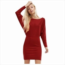 TRENDY ROUND COLLAR BAT WING SLEEVE SHEATH BODYCON (WINE RED S/M/L/XL)