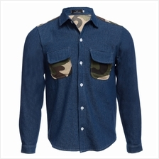 CASUAL CAMOUFLAGE POCKET DECORATION MALE LONG SLEEVE DENIM SHIRT (DEEP BLUE M/