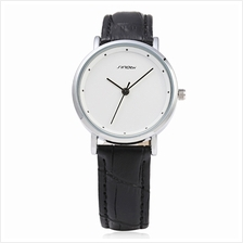 SINOBI 9598 WOMEN QUARTZ WATCH (BLACK LEATHER+WHITE DIAL)