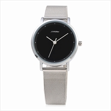 SINOBI 9598 WOMEN QUARTZ WATCH (STEEL BAND+BLACK DIAL)