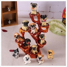 MINI CUTE DOG WITH DISPLAY STAND FIGURINES