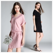 Dresses Cotton Plain Casual Shift Dresses 842