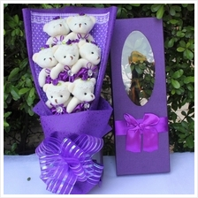 7pcs teddy bear bouquet / add Gift box Love Bouquet flower