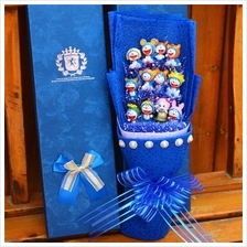 12pcs doraemon with gift box /cartoon bouquet free present card