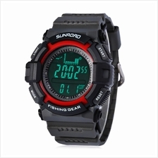 FISHING BAROMETER WATCH WITH ABS AND PU BAND - BLACK AND RED (RED)