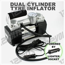 Portable 2 Cylinder Car Tire Inflator Compressor Air Pump / Pam Tayar