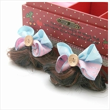 Button Grossgrain Double Bow wt Wig Hair Clip (1 Pair)  – Pink  & Blue