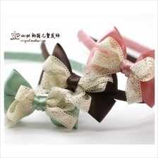 Salmon Trendy Bow with Lace Hair Band